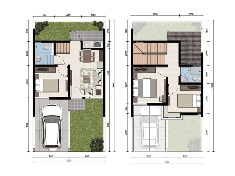 Image Tipe MONTE FARELLA 60m2 (LUAS TANAH (6X11) & (6X12))